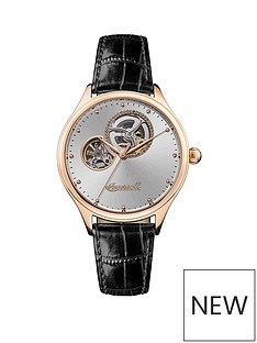 ingersoll-ingersoll-vamp-silver-sunray-and-rose-gold-detail-skeleton-eye-automatic-dial-black-leather-strap-watch