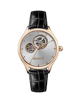 ingersoll-the-vamp-automatic-i07001-silver-sunray-and-rose-gold-detail-skeleton-eye-automatic-dial-black-leather-strap-ladies-watch