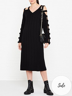 mcq-alexander-mcqueen-cut-out-sleeve-wool-dress-black