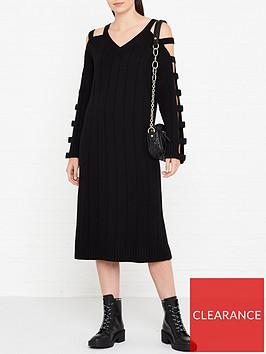 mcq-alexander-mcqueen-cut-out-sleeve-wool-dress-black