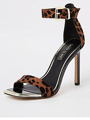 fc37199fe89d River Island River Island Leopard Print Barely There Heel Sandal - Brown