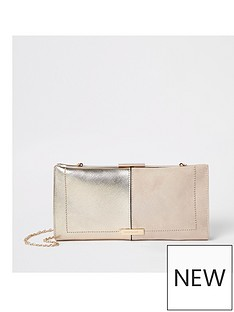 2a960357928 River Island River Island Soft Metallic Clutch Bag - Beige