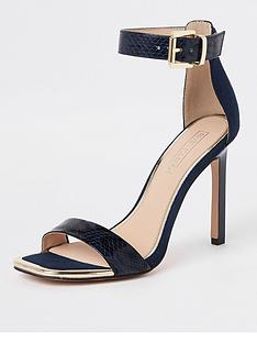 fa275533d River Island River Island Croc Embossed Barely There Heel Sandal - Navy