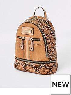 1d6db44cf34 River Island River Island Snake Detail Mini Backpack - Tan