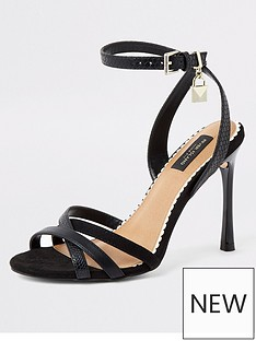 3f592a1dc6 River Island River Island Wide Fit Strappy Heeled Sandals - Black