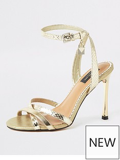 c5a263e84d River Island River Island Wide Fit Strappy Heeled Sandals - Gold