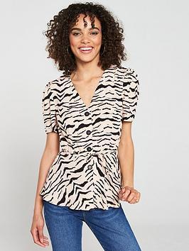 v-by-very-button-throughnbsptiger-print-blouse-nudetiger-print