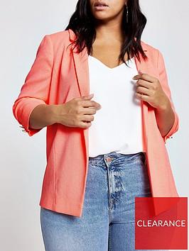 ri-plus-ruched-sleeved-blazer--orange
