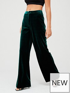 v-by-very-wide-leg-velvet-trouser--nbspforest-green