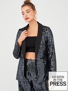 v-by-very-sequin-stripe-tux-blazer-black