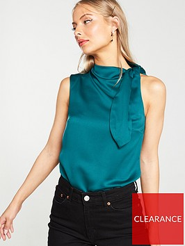 v-by-very-side-tie-satin-sleeveless-blouse-greennbsp