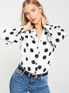 v-by-very-open-collar-blouson-sleeve-shirt-mono