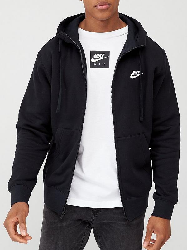 servidor Cinco pastel  Nike Sportswear Club Fleece Full Zip Hoodie - Black | very.co.uk