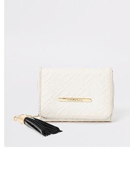 river-island-girls-cream-ri-monogram-trifold-purse