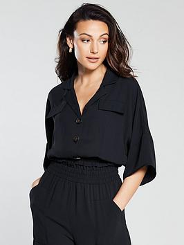 michelle-keegan-shirred-waist-blouse-black