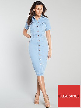 michelle-keegan-short-sleeve-denim-pencil-dress-light-wash