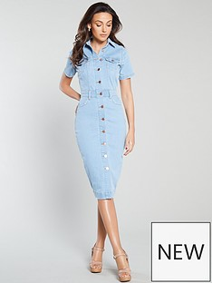 michelle-keegan-short-sleeve-denim-pencil-dress