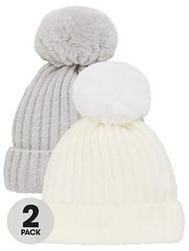 v-by-very-2-pack-baby-pom-pom-hats-greycream