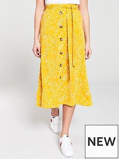 d7455328c Oasis Spot Button Through Skirt - Yellow