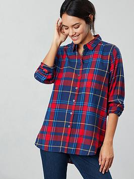 joules-lorena-bruched-longline-woven-shirt-red-check