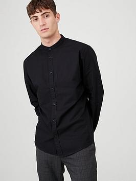 v-by-very-grandad-collar-oxford-shirt-black