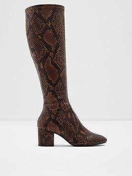 aldo-larigonna-snake-print-knee-boots-brown