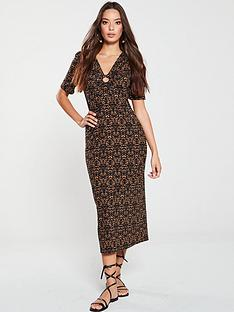 v-by-very-mark-maker-print-ring-detail-midi-dress-rust-print
