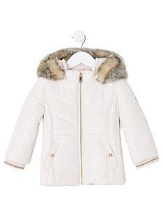 river-island-mini-mini-girls-faux-fur-trim-padded-coat-pink