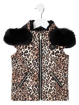 river-island-mini-mini-girls-leopard-print-hooded-gilet-brown