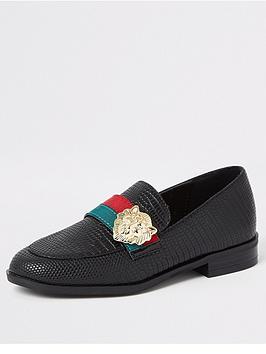 river-island-girls-lion-head-tape-loafers-black