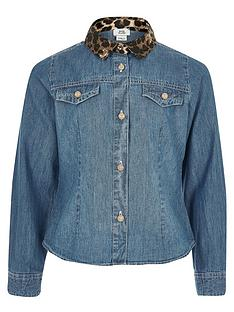 river-island-girls-leapord-print-collar-denim-shirt-blue