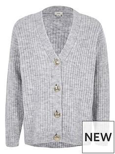 river-island-rib-button-front-cardigan-grey
