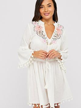 accessorize-paisley-long-sleeved-beach-kaftan-cream