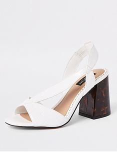 d49a1c178 River Island River Island Wide Fit Cross Strap Block Heel Sandals - White