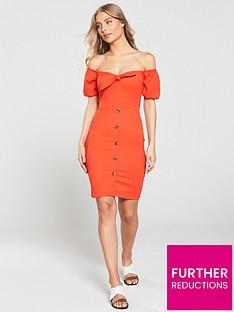 river-island-river-island-bardot-tie-front-button-mini-dress-red