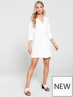 6df696305f River Island Belted Tux Dress-white