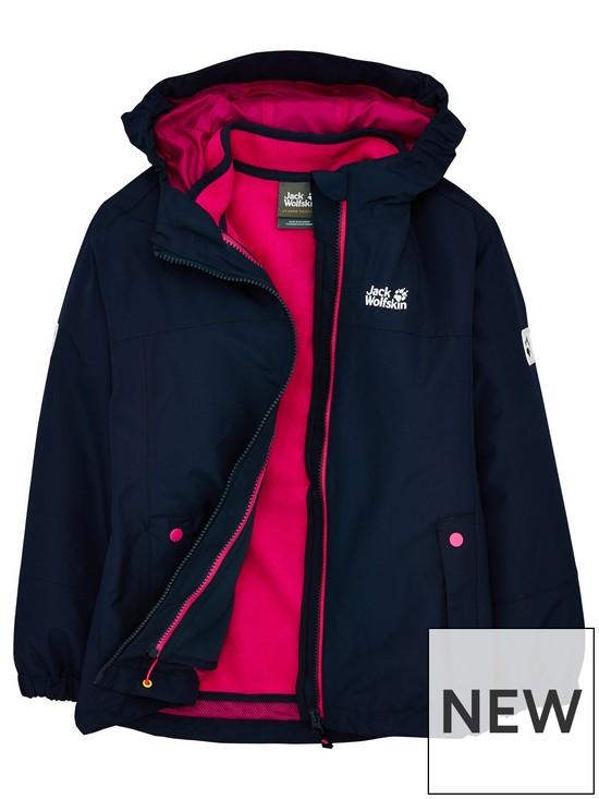detailed look 8cc7c 577af Girls Iceland 3-in-1 Jacket - Navy/Pink