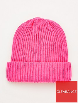 v-by-very-neon-pink-knitted-beanie