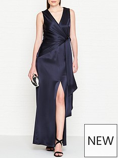 outline-adalie-satin-side-tie-waist-gown-navy