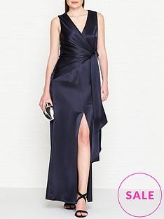 outline-adalie-satin-side-tie-waist-gown-navy