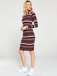 superdry-stripe-rib-midi-dress-red
