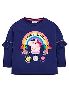 peppa-pig-toddler-girls-rainbow-frill-top-navy
