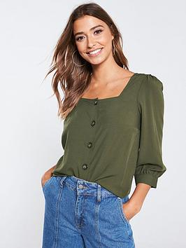 warehouse-square-neck-button-front-top-khaki