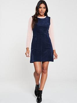 warehouse-cord-pinafore-dress-navy
