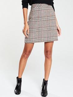warehouse-mia-check-pelmet-skirt-brown