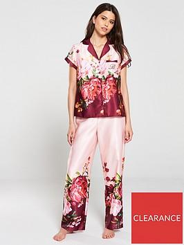 b-by-ted-baker-serenity-satin-short-sleeve-revere-pyjama-top-pink