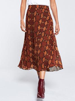 warehouse-snake-pleated-midi-skirt-orange