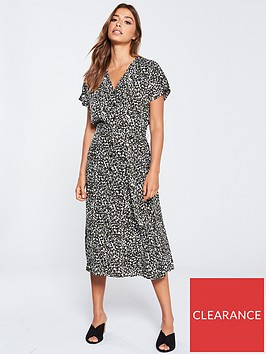 warehouse-sable-animal-print-midi-dress-green