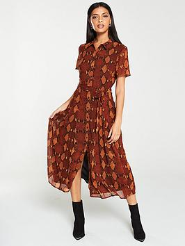 warehouse-snake-print-pleated-midi-shirt-dress-orange