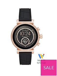 michael-kors-michael-kors-sofie-full-display-rose-gold-glitz-dial-black-snake-silicone-strap-ladies-smart-watch